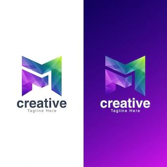 Logotipo abstracto de la letra m para medios y entretenimiento