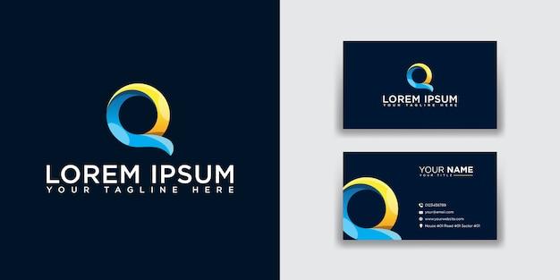 Logotipo abstracto de la letra q con plantilla de tarjeta de visita