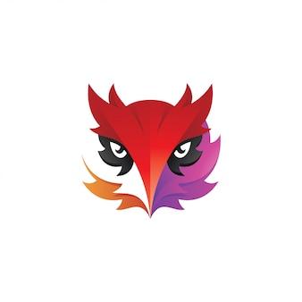 Logotipo abstracto de la mascota de la cabeza del búho