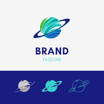 Logotipo abstracto del planeta de la órbita