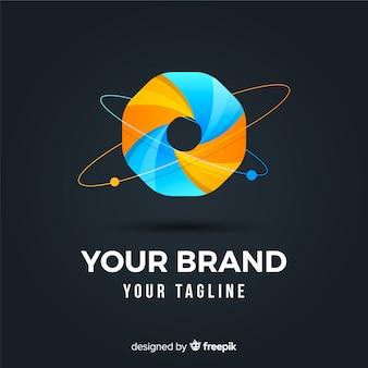Logotipo abstracto y redondeado de negocios con efecto degradado