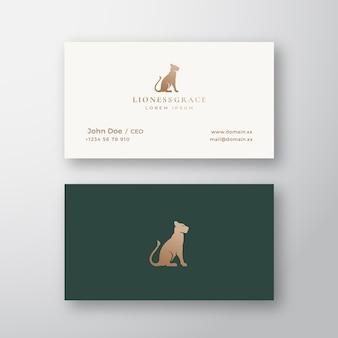 Logotipo abstracto y tarjeta de visita de lioness grace