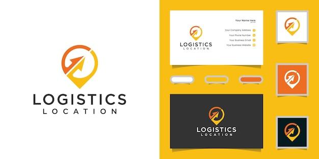 Logotipo abstracto de ubicación logística con flechas e inspiración para tarjetas de visita