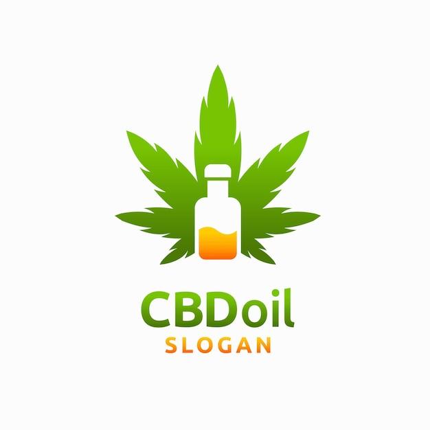 Logotipo de aceite de cannabis con concepto de botella