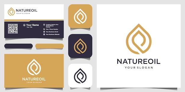 Logotipo de aceite de oliva y hoja y tarjeta de visita.