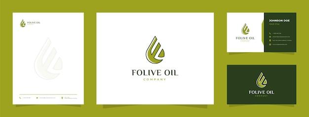 Logotipo de aceite de oliva letra f con tarjeta de visita y membrete
