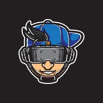 Logotipo de acero de hombre con los ojos vendados