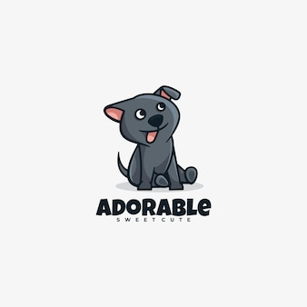 Logotipo adorable estilo de mascota simple.