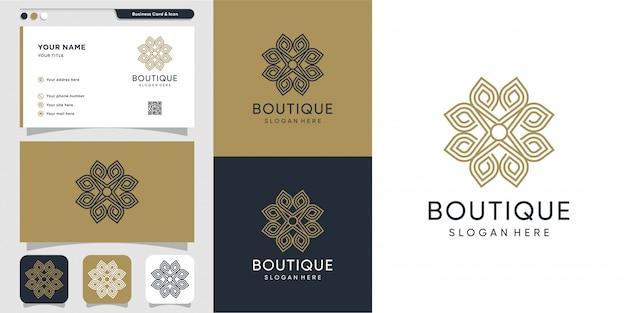 Logotipo de adorno boutique con estilo de línea de arte y plantilla de diseño de tarjeta de visita