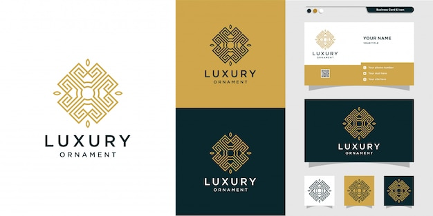 Logotipo de adorno de lujo con estilo de línea de arte y diseño de tarjeta de visita, lujo, abstracto, belleza, icono premium