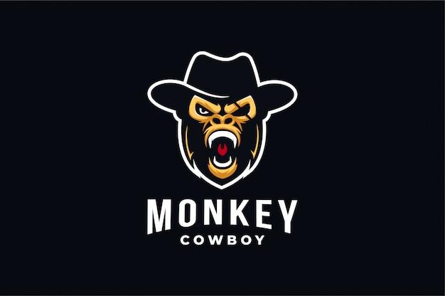 Logotipo agresivo de la mascota de monkeycowboy