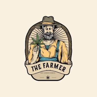 Logotipo del agricultor de marihuana