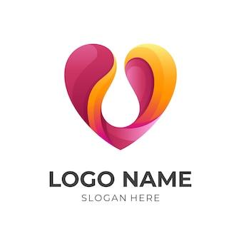 Logotipo de agua de amor, amor y amor, logotipo de combinación con estilo de color rojo y naranja 3d