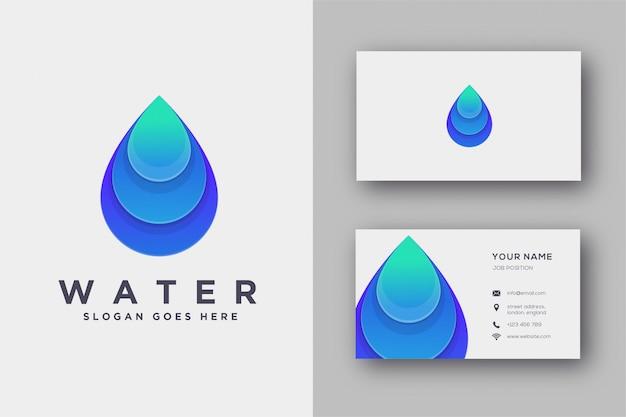 Logotipo de agua y tarjeta de visita