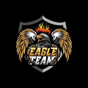 Logotipo de águila mascota esport