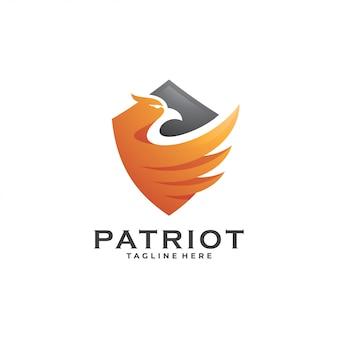 Logotipo de ala y escudo de águila halcón