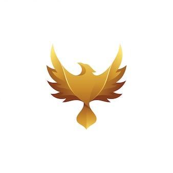 Logotipo de ala de pájaro halcón águila dorada