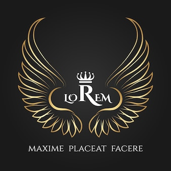 Logotipo de alas de pájaro dorado. negocio alado de ángel dorado. alas de ángeles con corona para negocios.