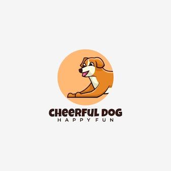 Logotipo alegre perro estilo de mascota simple.