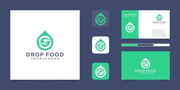 Logotipo de alimentos frescos, gota de agua con logotipo de cuchara y tenedor