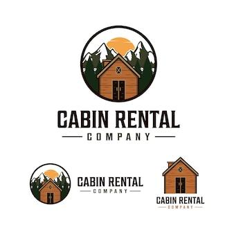 Logotipo de alquiler de cabaña con paisaje