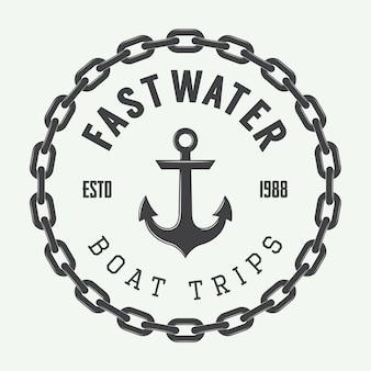 Logotipo de alquiler de rafting o barco.