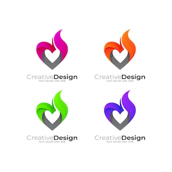 Logotipo de amor abstracto con plantilla de diseño de fuego, estilo simple