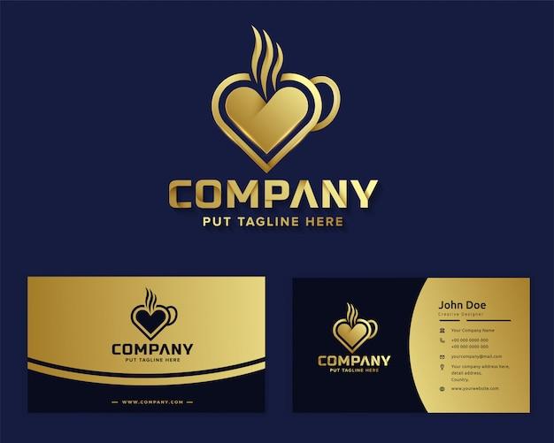 Logotipo de amor de café de lujo premium para empresa comercial