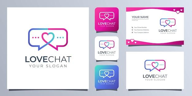 Logotipo de amor y chat con tarjeta de visita