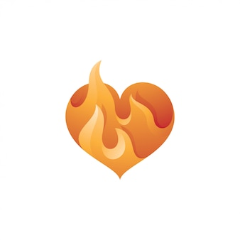 Logotipo de amor de corazón y llama de fuego