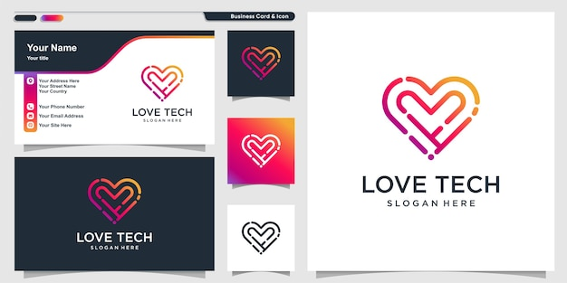 Logotipo de amor con estilo de arte de línea tecnológica y tarjeta de visita.