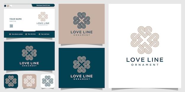 Logotipo de amor con estilo de arte lineal y plantilla de diseño de tarjeta de visita. amor, corazón, moderno, belleza
