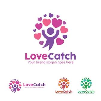 Logotipo del amor de la gente, icono del árbol de amor