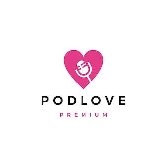 Logotipo de amor de podcast