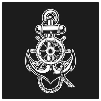 Logotipo de ancla y capitán