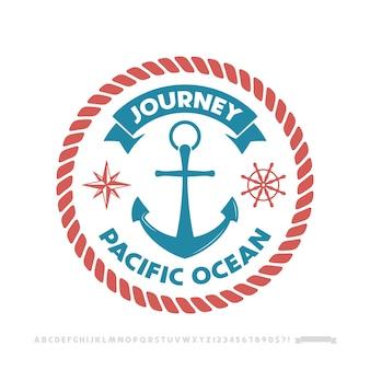 Logotipo de ancla, emblema náutico.