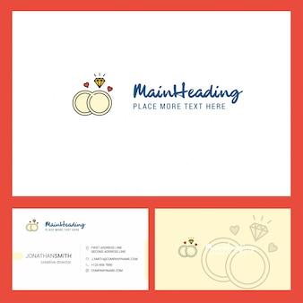 Logotipo de anillo de diamantes con lema y plantilla de tarjeta busienss frontal y posterior.