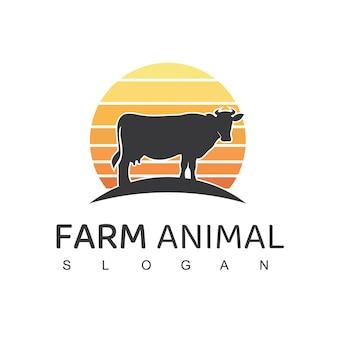Logotipo de animales de granja símbolo de granja de vacas