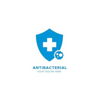 Logotipo antibacteriano azul con cruz