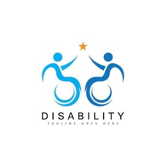 Logotipo de apoyo moderno para personas con discapacidad