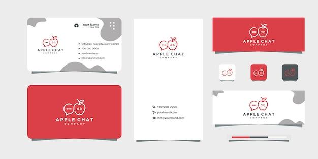 Logotipo de apple, con chat y tarjeta de visita.