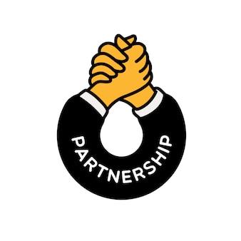 Logotipo de apretón de manos y colaboración.
