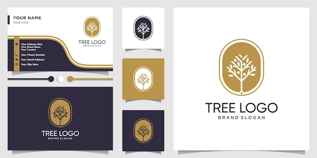 Logotipo de árbol con concepto fresco y diseño de tarjeta de visita.