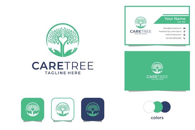Logotipo del árbol de cuidado y tarjeta de visita