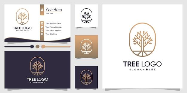 Logotipo de árbol con estilo de arte de línea moderna y negocios