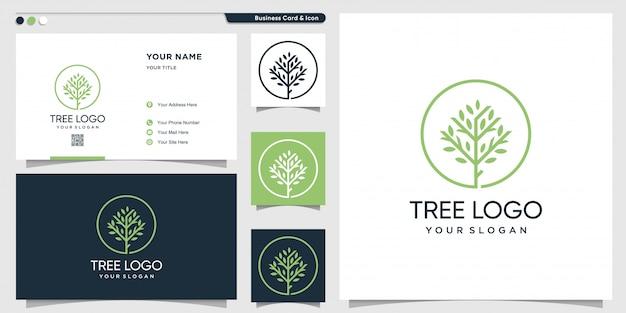 Logotipo de árbol con estilo de arte lineal y plantilla de diseño de tarjeta de visita