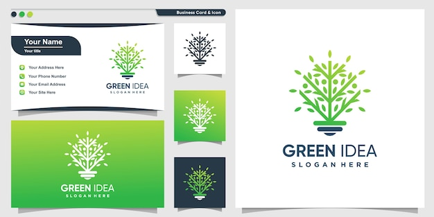 Logotipo de árbol con estilo verde inteligente y diseño de tarjeta de visita, verde, árbol