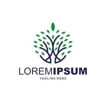 Logotipo de árbol de hoja
