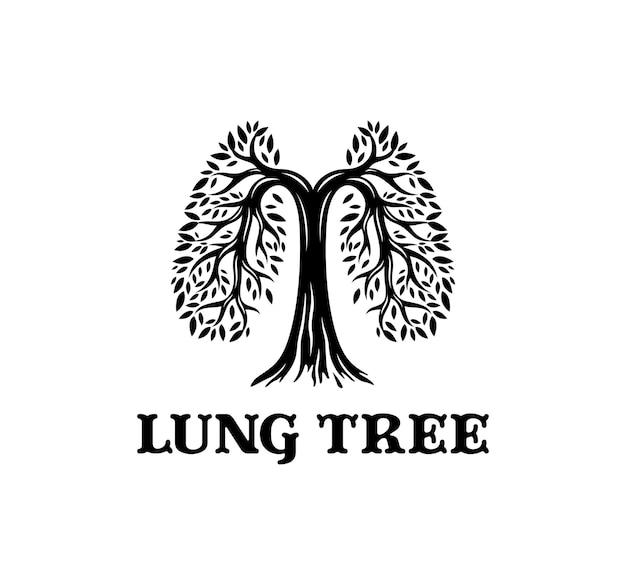 Logotipo de un árbol de hojas en forma de pulmón