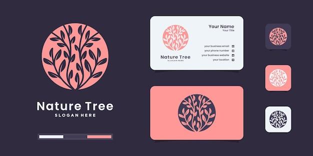 Logotipo de árbol con logotipo de concepto único moderno. plantilla de diseño de logotipo de árbol de lujo.